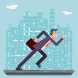 Running Businessman Character Urban Landscape City Street Background Flat Design Vector Illustration