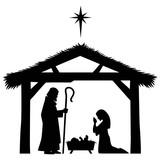 Mary, Joseph and Jesus Silhouette - 121367629