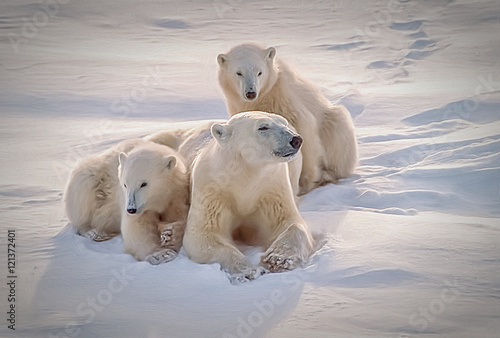Polar bear with her cubs, oil painting - 121372401