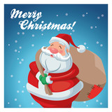 Santa cartoon with gift bag icon. Merry Christmas season and decoration theme. Colorful design. Vector illustration