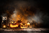 Halloween Pumpkins still-life background. - 121376040