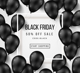 Black Friday Sale Poster with Balloons on White - 121380678