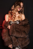 gorgeous sensual woman with blond hair in luxurious fur coat