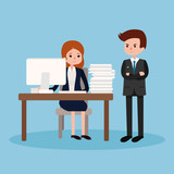 Boss angry at employee.Vector illustration isolated on blue background