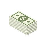 bundle dollars isometric icon on white background