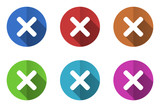 Flat design vector icons. Colorful web buttons set.