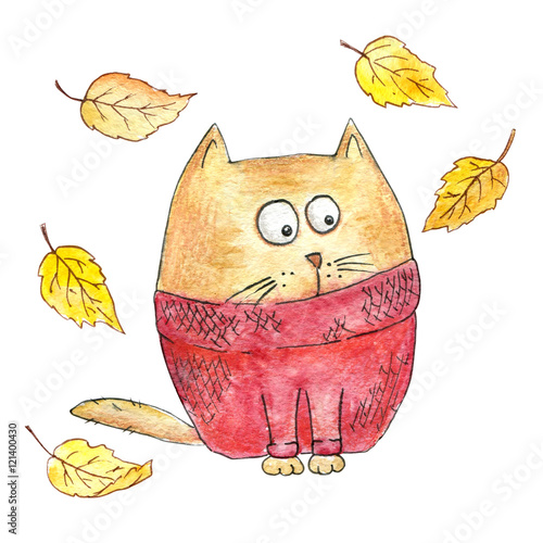 Poster Cartoon cat in a knitted sweater with fallen leaves
