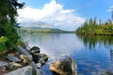 Wide angle landscape shot of Strbske Pleso lake in High Tatras mountains.