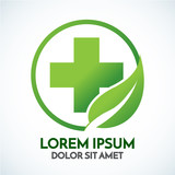 Medical eco logo icon design template with cross and plus.