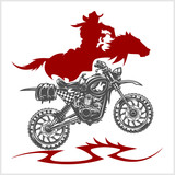 Motocross Moto and Horse - vector emblem