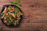 Chicken with asparagus stir fry.