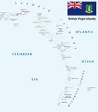 lesser antilles outline map british virgin islands with flag - 121443404