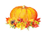 Thanksgiving pumpkin with flowers, fruits. Watercolor