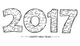 Happy New Year 2017 hand drawn number vector image