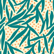 Floral seamless pattern in teal and orange. - 121452092