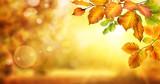 Fototapety Gelbe Blätter verzieren einen unscharf leuchtenden Hintergrund für den Herbst