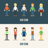 Group of smiling cartoon people standing on white and gray background. Our team banner, vector illustration. Teamwork, collaboration and partnership, working together. Business success.