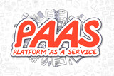PaaS - Doodle Red Word. Business Concept.