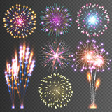 Festive Firework. Abstract Vector Pictograms. Dazzling Light up the sky. Icons on a black Background