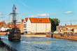 View over the Motlawa River on Granary Island in Gdansk, Poland.