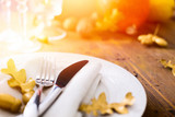 Art thanksgiving background with autumn Pumpkin on the dining ta - 121480420