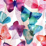 Seamless pattern with freehand watercolour butterflies and skele