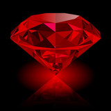 Realistic red ruby with reflection and red glow isolated on black background. Shining red jewel, colorful gemstone. Can be used as part of logo, icon, web decor or other design.