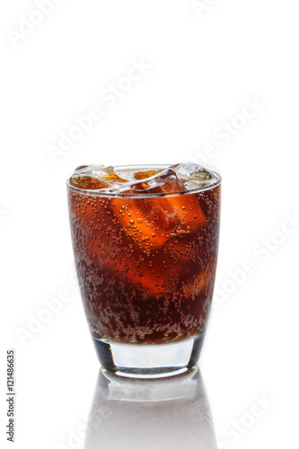 Poster Cola in glass with ice cubes on a white background
