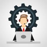 customer service flat icons vector illustration design