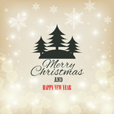 card merry christmas and happy year with christmas graphic vector illustration eps 10