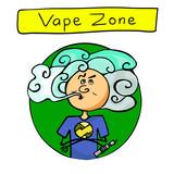 "Hand drawn sign ""Vape Zone"". Vaper. Colored vector illustration"