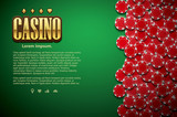poker green table cards and chips realistic theme top view