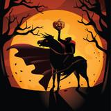 Headless Horseman. The horseman rides against the big orange full moon. EPS 10 vector.