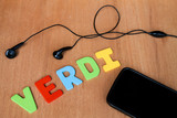 phone headphone and colorful word writen Verdi