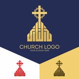 Church logo. Christian symbols. The cross of Jesus and a crown of thorns.