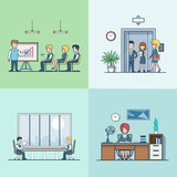 Linear Flat Businesspeople work places elevator training vector