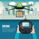 drone with hand hold remote control graphic vector illustration eps 10