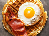 rustic savory bacon and egg waffle