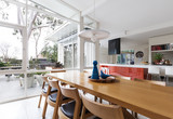 Scandinavian styled dining room and open plan kitchen