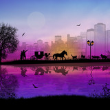 Carriage and lovers at sunset in romantic city place near water and many cats, vector illustration