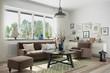 Skandinavisches, nordisches Wohnzimmer mit einem Sofa, Sessel und Deko.