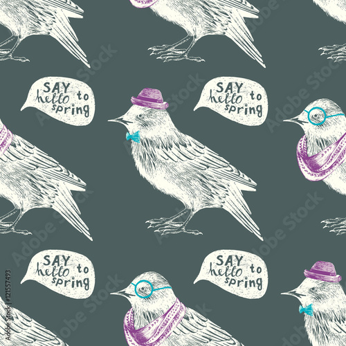 seamless pattern with dressed up starling - 121557493
