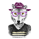 hand drawn wolf hipster