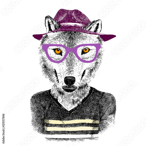 hand drawn wolf hipster - 121557846
