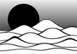 Op art abstract landscape black and white vector illustration
