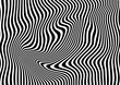Op art abstract geometric pattern black and white vector illustration