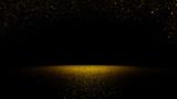 twinkling golden glitter falling on a flat surface lit by a bright spotlight  - 121563420