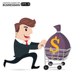 Businessman With the money bag and Shopping Carting, Business Co