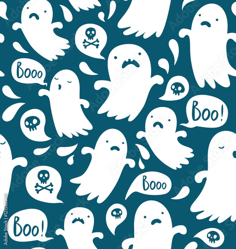 Cotton fabric Seamless Halloween pattern with various spooky ghosts