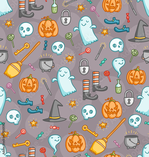 Cotton fabric Halloween doodle seamless pattern with bunch of creepy sweet symbols in color